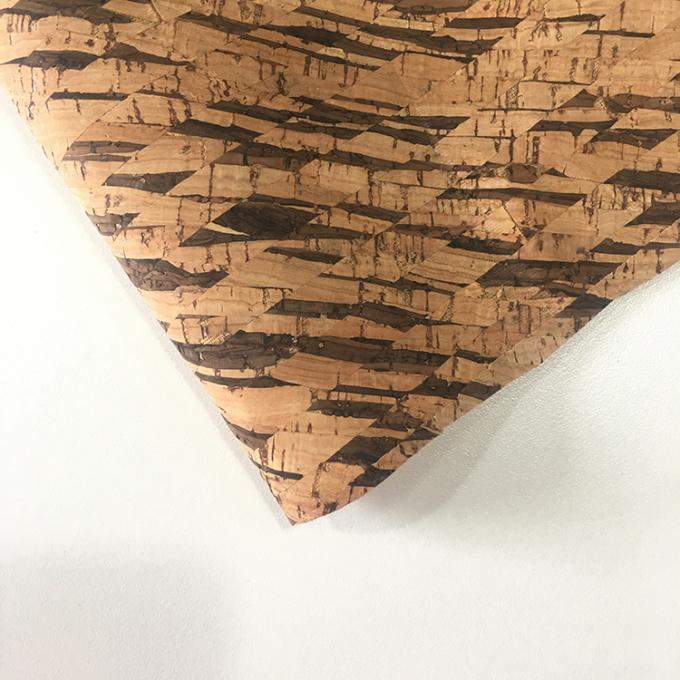 Non Woven Cork Leather Fabric Durable Contemporary Printed Natural Color
