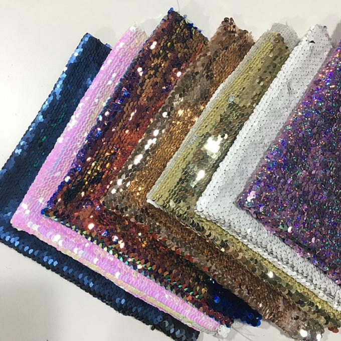 Beautiful Printed Glitter Sequin Fabric 50D*75D Yarn Count 220gsm Plaid Style