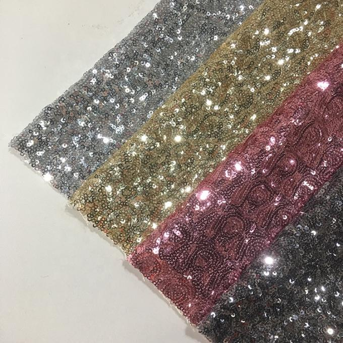 Modern Silver Sequin Fabric , Sequin Lace Fabric Sparkly Mesh Garment Applied
