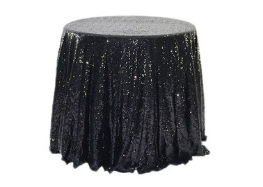 OEM Gold Sequin Tablecloth , Silver Sparkle Tablecloth Black SGS Approved