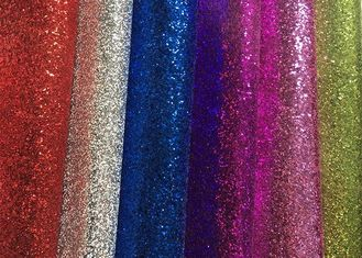 China Waterproof Colorful Glitter Wall Fabric , Glitter Fabric Roll PU Material factory