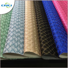 China New Fashion Artificial Glitter Pu Leather Fabric For Wall Decoration factory