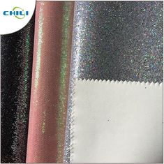 China Wholesale New Design Pu Rexine Mesh Glitter Fabric Price factory