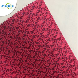 China Wholesale Eco-Friendly Synthetic Mesh Glitter shoe Leather factory