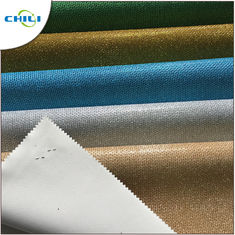 Colorful Synthetic Leather Fabric Sheet Shiny Glitter Woven Backing Multi Layers