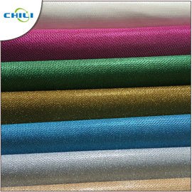 China Genuine Glitter Leather Fabric , Glitter Cotton Fabric For Handbags 1mm Thick factory