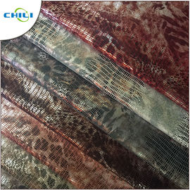 Green Printed Faux Leather Fabric High Stretch Performance Flame Retardant
