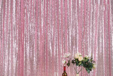 OEM Custom Pink Gold Sequin Backdrop Mesh Flat Window Application