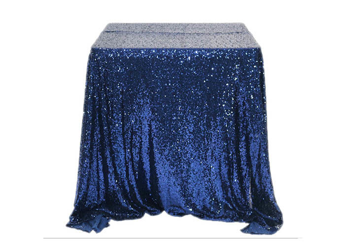 Restaurant Gold Glitter Tablecloth Fashion Design Square Nacy Blue 100% Polyester supplier