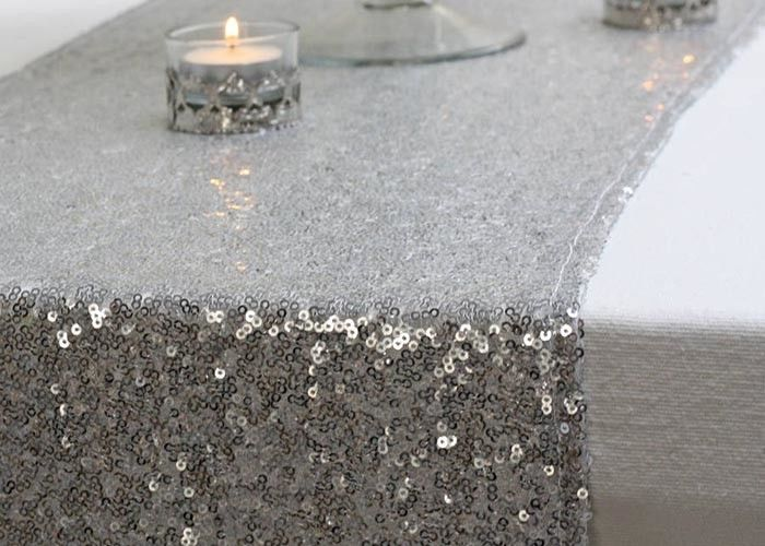 Sliver Gold Pretty Beautiful Fabric Table Runner 12*118 Inch Glitter Sequin Type supplier