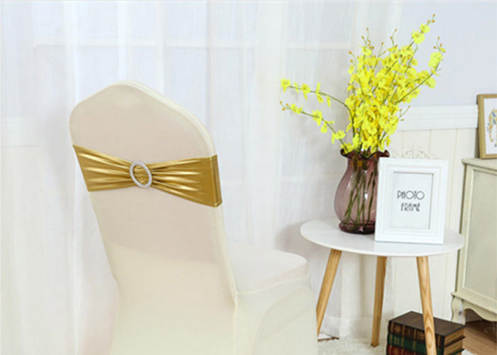 Fancy Chair Covers And Sashes Metallic Gold Color Universal Spandex With Buckle supplier