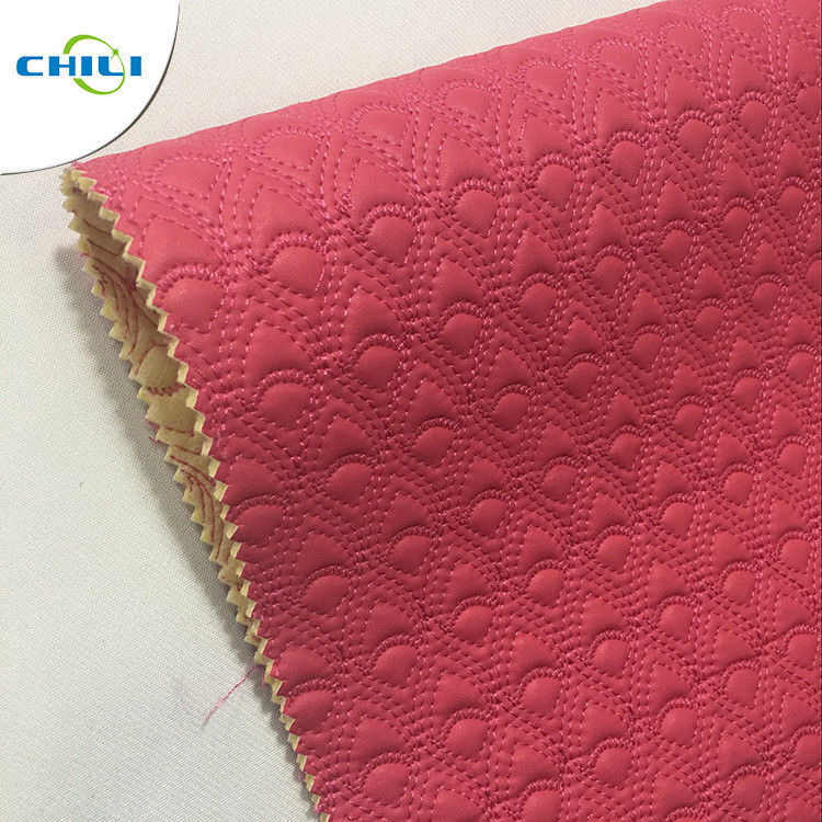 Bulk Fake Quilted Leather Fabric Vinyl Material High Strength Wear Resistant supplier