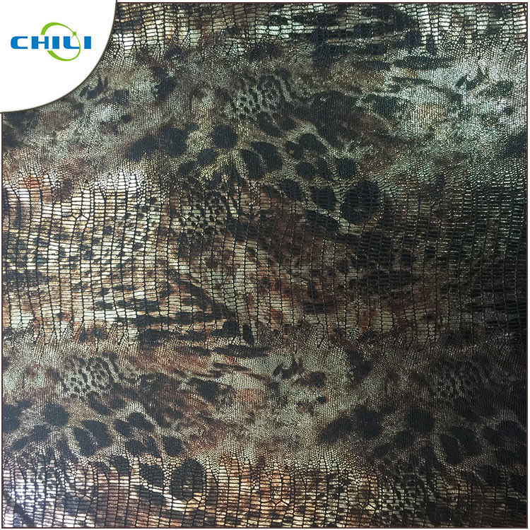 Green Printed Faux Leather Fabric High Stretch Performance Flame Retardant supplier