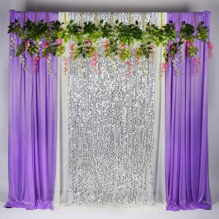 Upholstery Sequin Fabric Backdrop , Sequin Backdrop Curtains Wide Application supplier