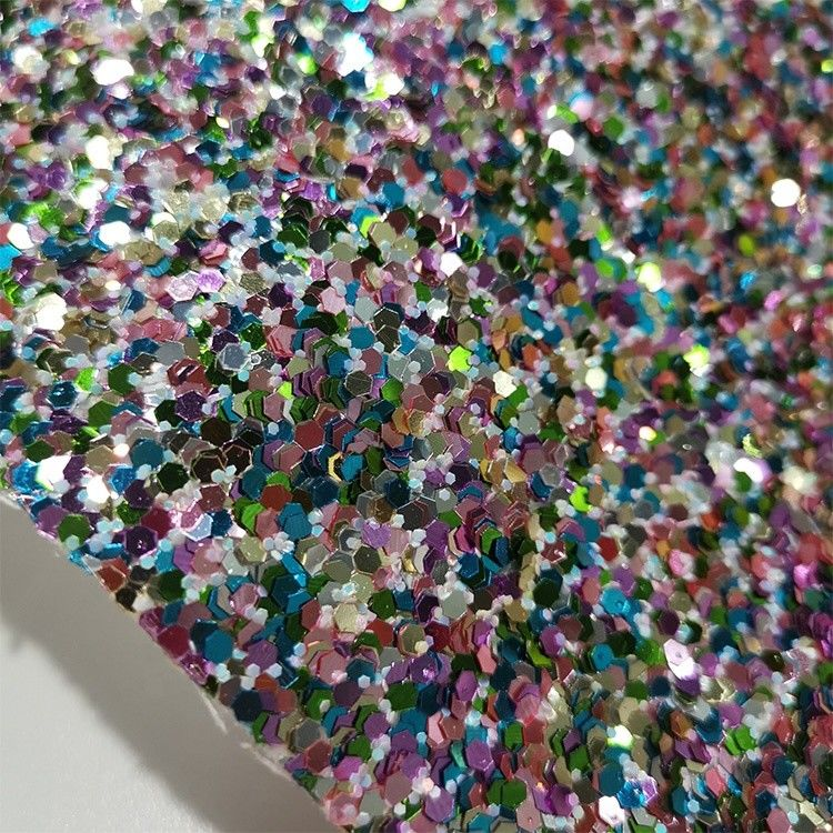 Hexagon Sparkling Glitter Leather Fabric